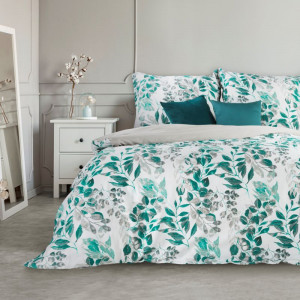 Biele bavlnené posteľné obliečky so zeleným listovým motívom