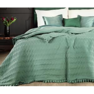 Obojstranný prehoz na posteľ s prešívaním zelenej farby