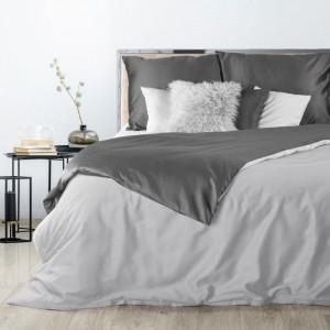 Sivé obojstranné posteľné obliečky z kvalitného bavlneného saténu