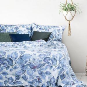 Modrá posteľná bielizeň z bavlneného saténu