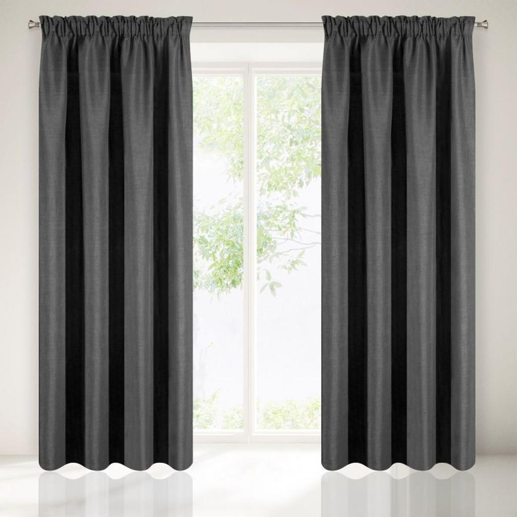 Tmavo sivý ozdobný záves do obývacej izby