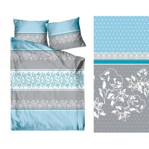 Bavlnené posteľné obliečky v modrosivej kombinácii