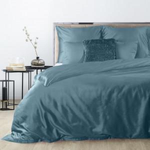 Luxusné posteľné obliečky z bavlneného saténu na zips v petrolejovej farbe