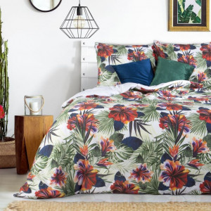 Kvetinové bavlnené posteľné obliečky so zapínaním na zips