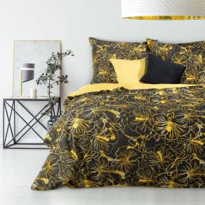 Bavlnené posteľné obliečky so žltým kvetinovým motívom