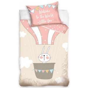 Detské bavlnené posteľné obliečky so zajkom v balóne