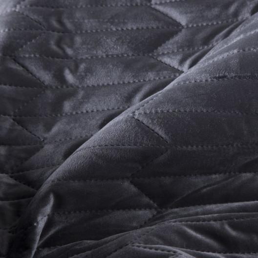 Čierny zamatový obojstranný prešívaný prehoz
