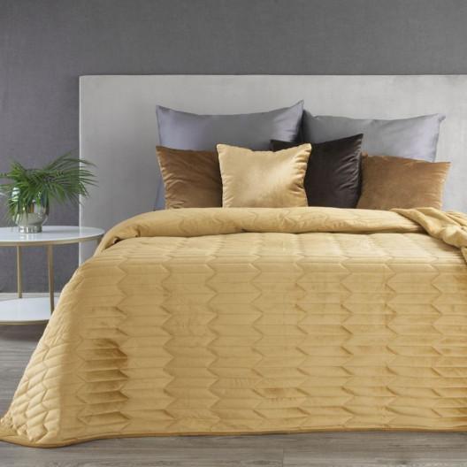 Žltý zamatový prešívaný objstranný prehoz na posteľ