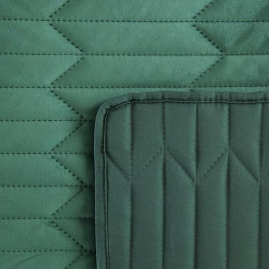 Zelený zamatový obojstranný prešívaný prehoz
