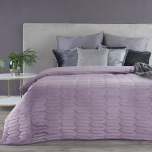Fialový zamatový prešívaný obojstranný prehoz na posteľ