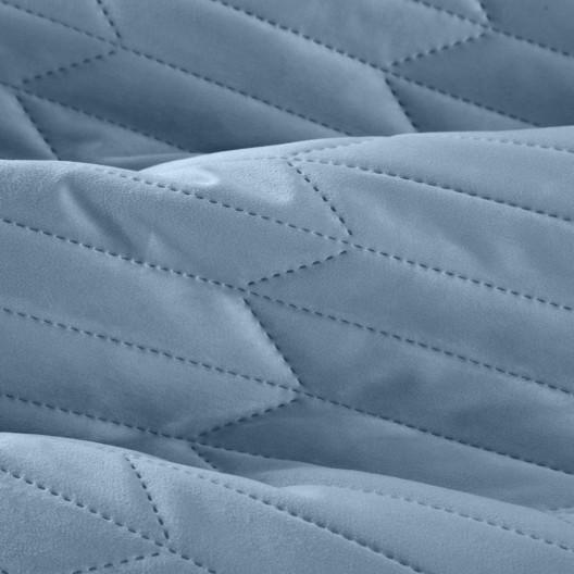Modrý zamatový prešívaný obojstranný prehoz