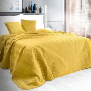 Obojstranný prešívaný prehoz na posteľ žltej farby