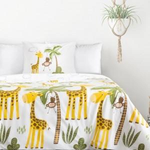 Detské bavlnené posteľné obliečky s motívom žirafy