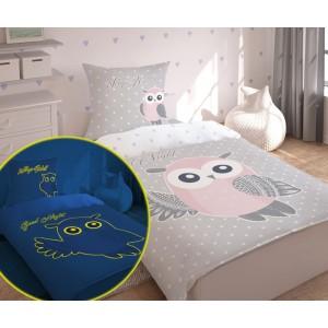 Svietiace detské posteľné obliečky s motívom sovy