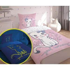 Ružové bavlnené obliečky s motívom mačiatka pre deti