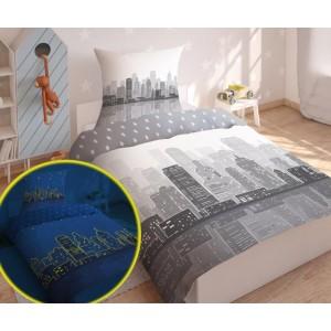 Svietiace detské posteľné obliečky s motívom veľkomesta