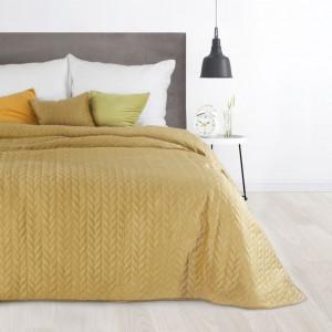 Luxusný velúrový prehoz na posteľ horčicovo žltej farby