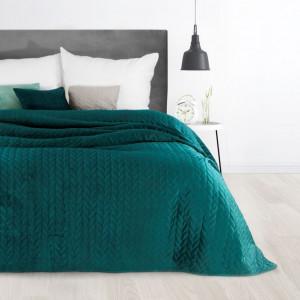 Tyrkysový jednofarebný prehoz na posteľ s dekoračným prešívaním