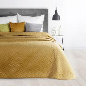 Moderný dekoračný prehoz na posteľ žltej farby