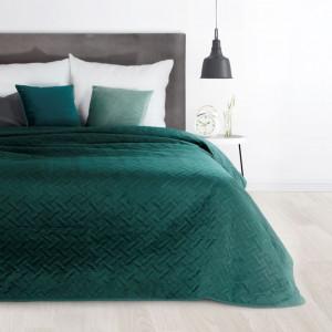 Kvalitný velúrový prehoz na manželskú posteľ tyrkysovej farby