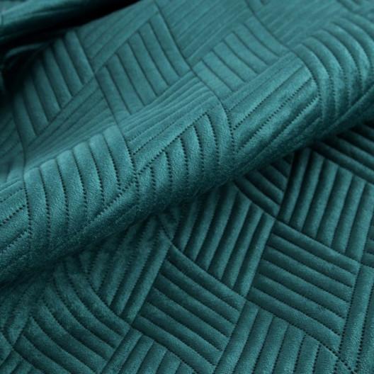Smaragdový prehoz na posteľ s vyrazeným motívom