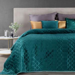 Kvalitný jednofarebný prehoz na posteľ tyrkysovej farby