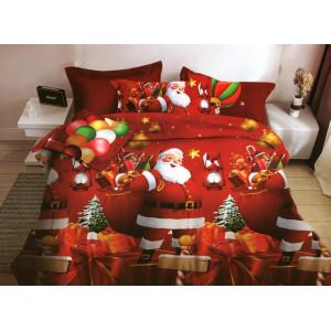 Červené posteľné obliečky na vianoce s potlačou mikuláša