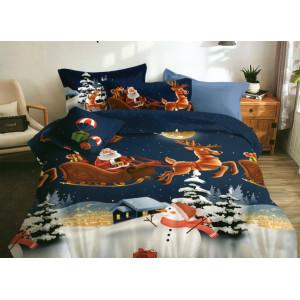 Modré vianočné posteľné obliečky s motívom Santa Clausa
