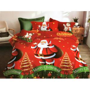 Obliečky na posteľ s vianočným motívom v červenej farbe