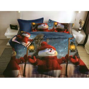 Vianočné posteľné obliečky s motívom snehuliaka