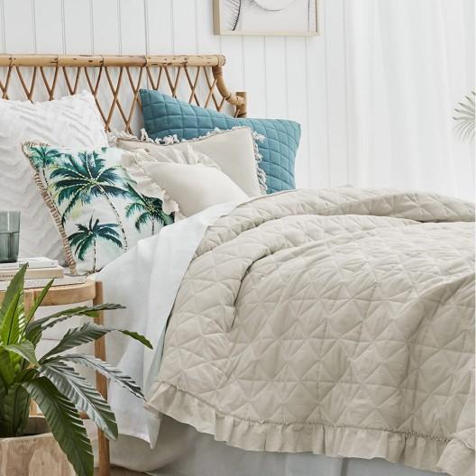 Elegantný prešívaný prehoz na posteľ v béžovej farbe 240 x 260 cm