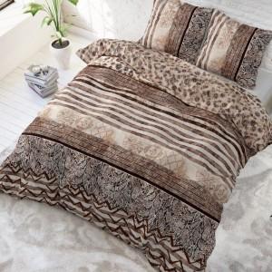 Kvalitné hnedé posteľné obliečky s tigrovaným motívom 200 x 220 cm