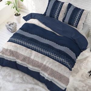 Kvalitné vzorované posteľné obliečky modrej farby 200 x 220 cm