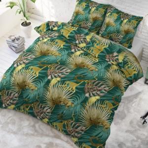 Exotické posteľné obliečky zelenej farby 200 x 220 cm