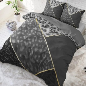 Luxusné čierne posteľné obliečky s leopardím vzorom 140 x 200 cm