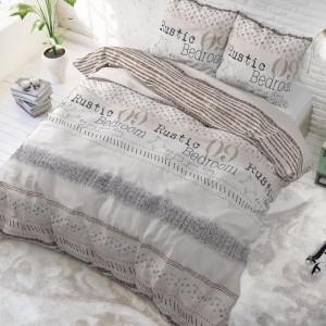 Béžové posteľné obliečky v rustikálnom štýle 200 x 220 cm
