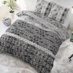 Sivé vzorované posteľné obliečky 200 x 220 cm