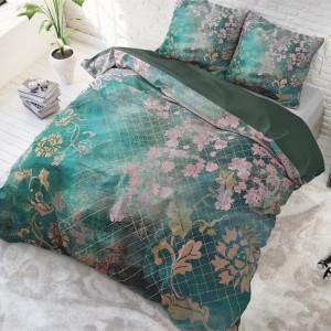 Krásne zelené obliečky s kvetinovým motívom 160 x 200 cm