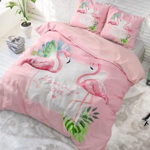 Ružové posteľné obliečky s motívom plameniaka 200 x 220 cm