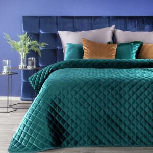 Dekoračný tyrkysový prehoz na posteľ s módnym prešívaním