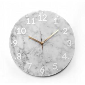 Ručne vyrábané mramorové hodiny v bielej farbe