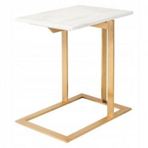 Odkladací mramorový stolík s oceľovou podnožkou