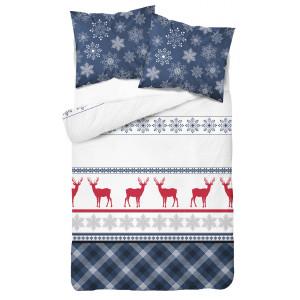 Vianočné posteľné obliečky s vločkami a sobmi modrej farby