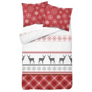 Vianočné posteľné obliečky so severskými vzormi a sobmi červenej farby