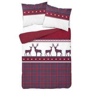 Vianočné posteľné obliečky s károvaným vzormi a sobmi červenej farby
