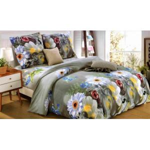 Sivé posteľné obliečky s potlačou kvetov