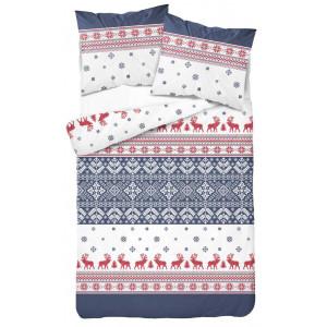 Vianočné posteľné obliečky so severskými vzormi modročervené
