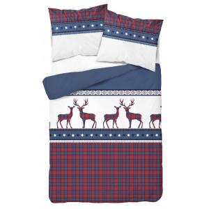 Vianočné posteľné obliečky s károvanými vzormi a sobmi modrej farby