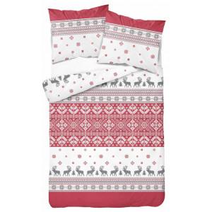 Vianočné posteľné obliečky so severskými vzormi a vločkami červenosivej farby
