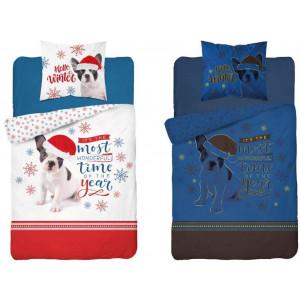Svietiace vianočné posteľné obliečky s motívom vianočného psíka